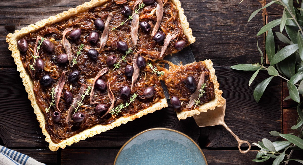 Caramelized onion and anchovy tart