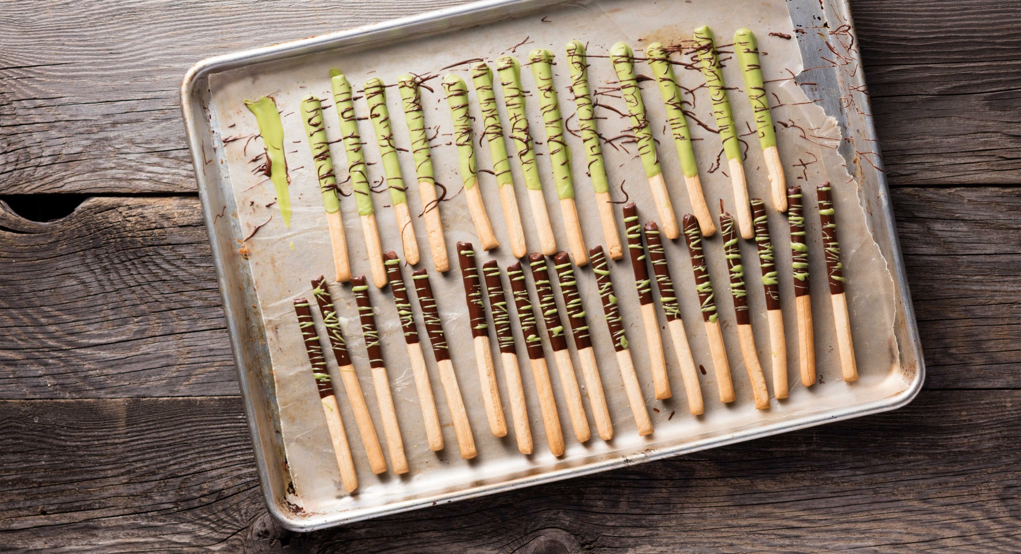 Matcha and Chocolate Coated Snack Stick Recipe