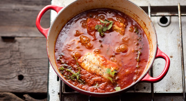 Poaching Cod in Tomato Sauce Locks in a Flaky Texture and Rich Flavor