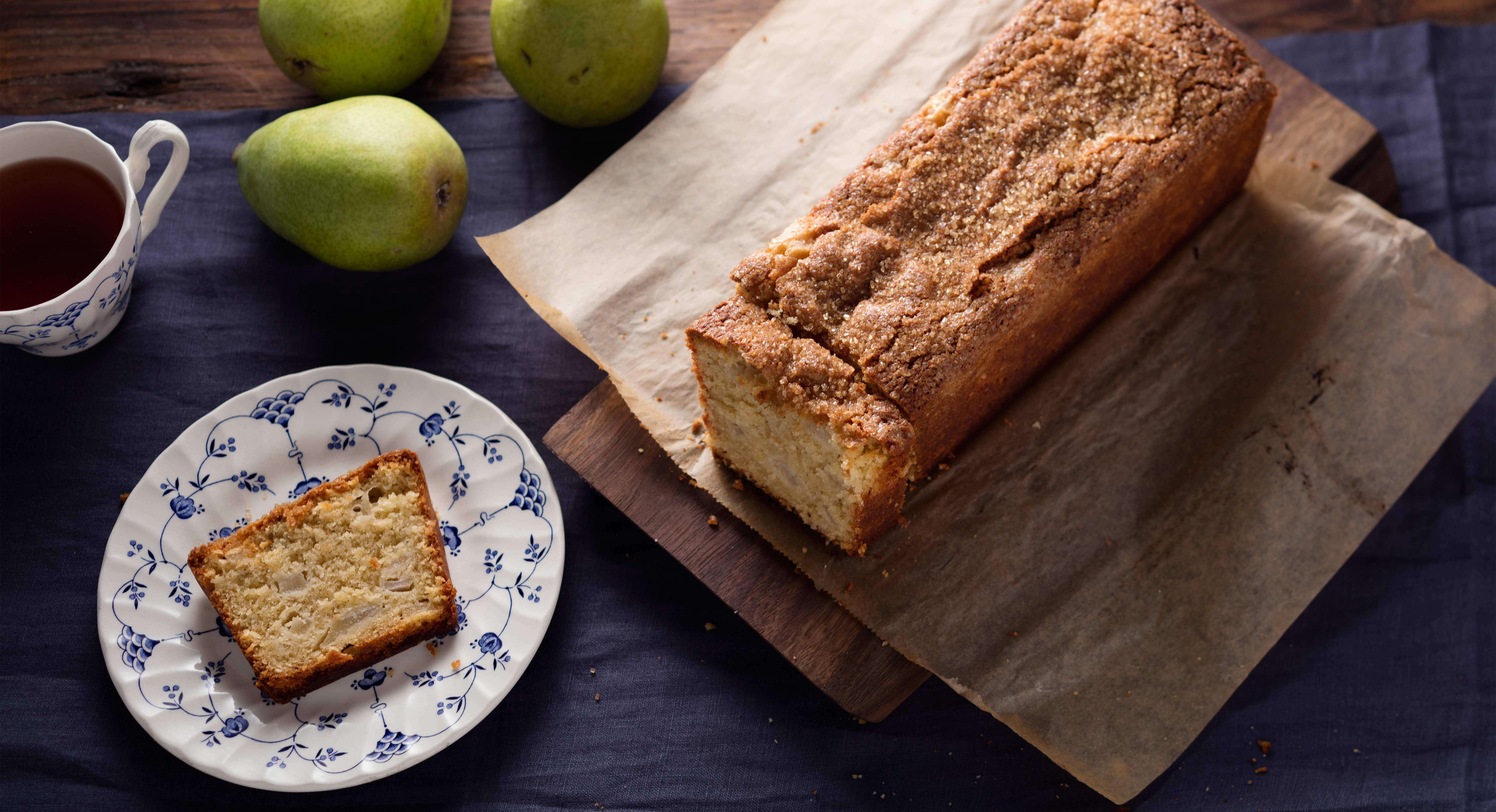 Nutty Tahini Complements Delicate Pear in This Light Tea Cake