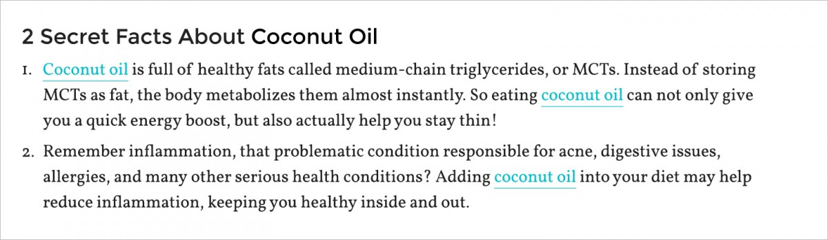 2 secret facts about coconut oil