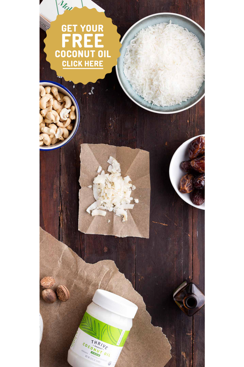 Toasted coconut bars ingredients with CTA
