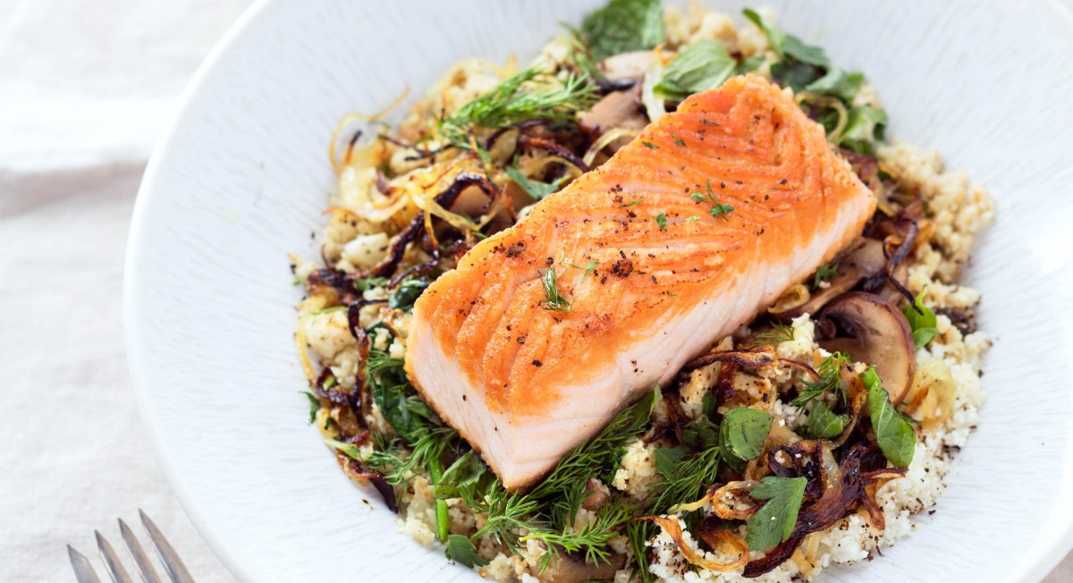 Roasted salmon with cauliflower rice bowl