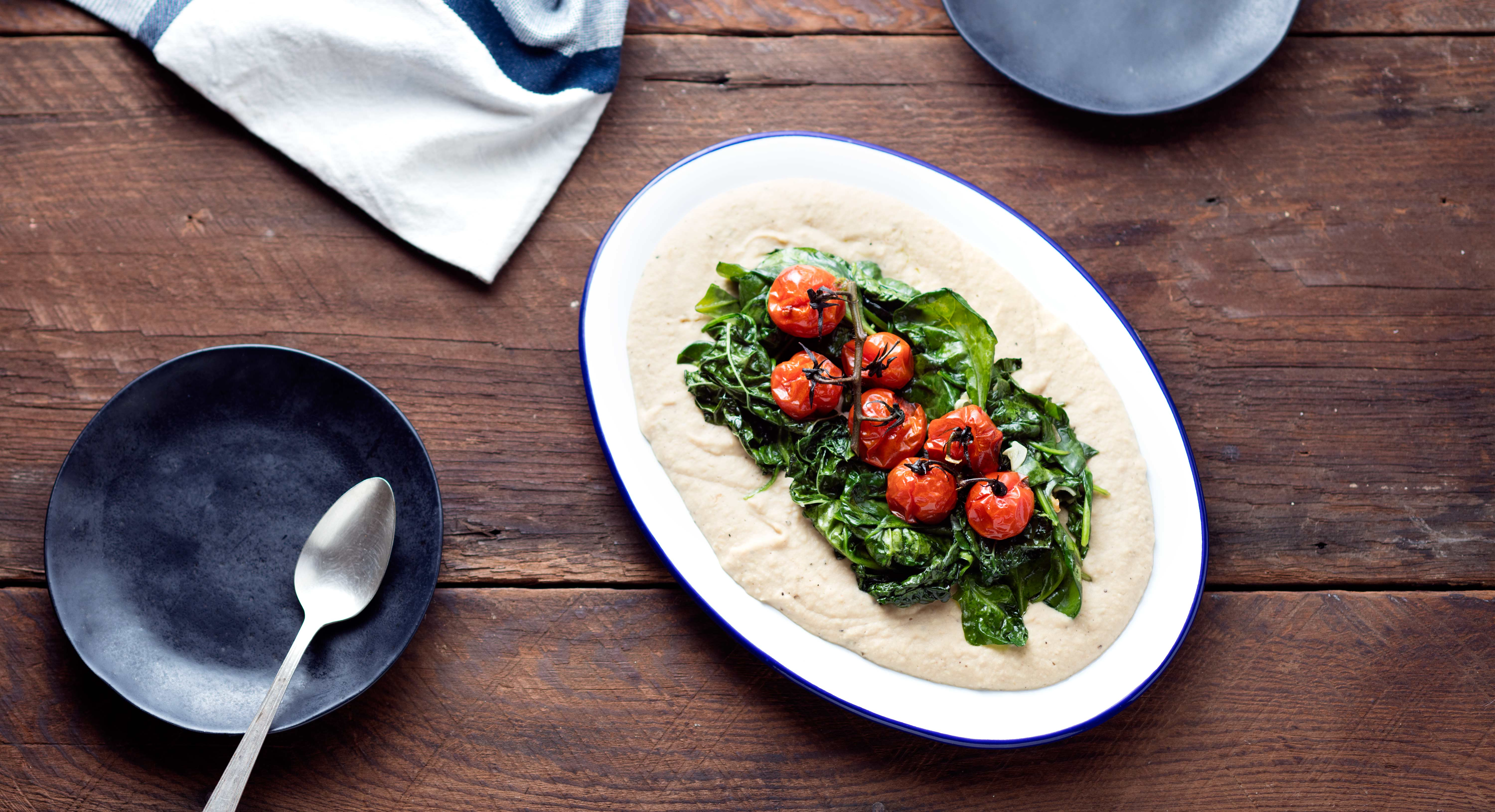 White Bean Puree with Spinach and Roasted Tomatoes Recipe