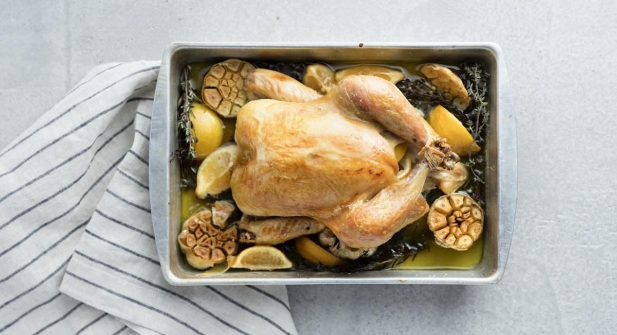 Garlic-roasted chicken