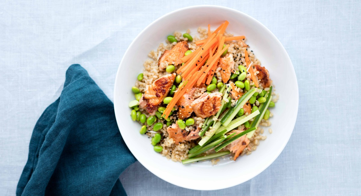 Salmon brown rice salad