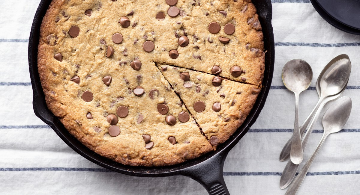 Sprouted flour chocolate chip skillet cookie