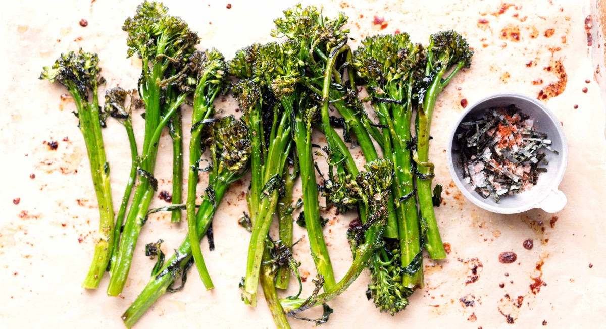 Roasted broccolini with nori salt