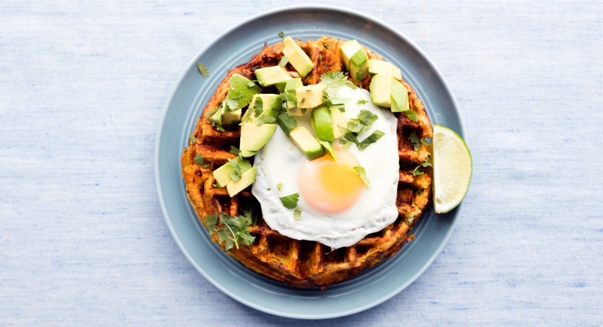Sweet potato hashbrown waffles