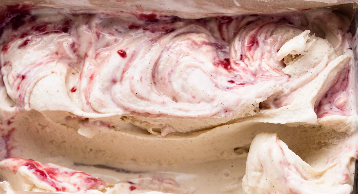 Coconut ice cream with raspberry swirl