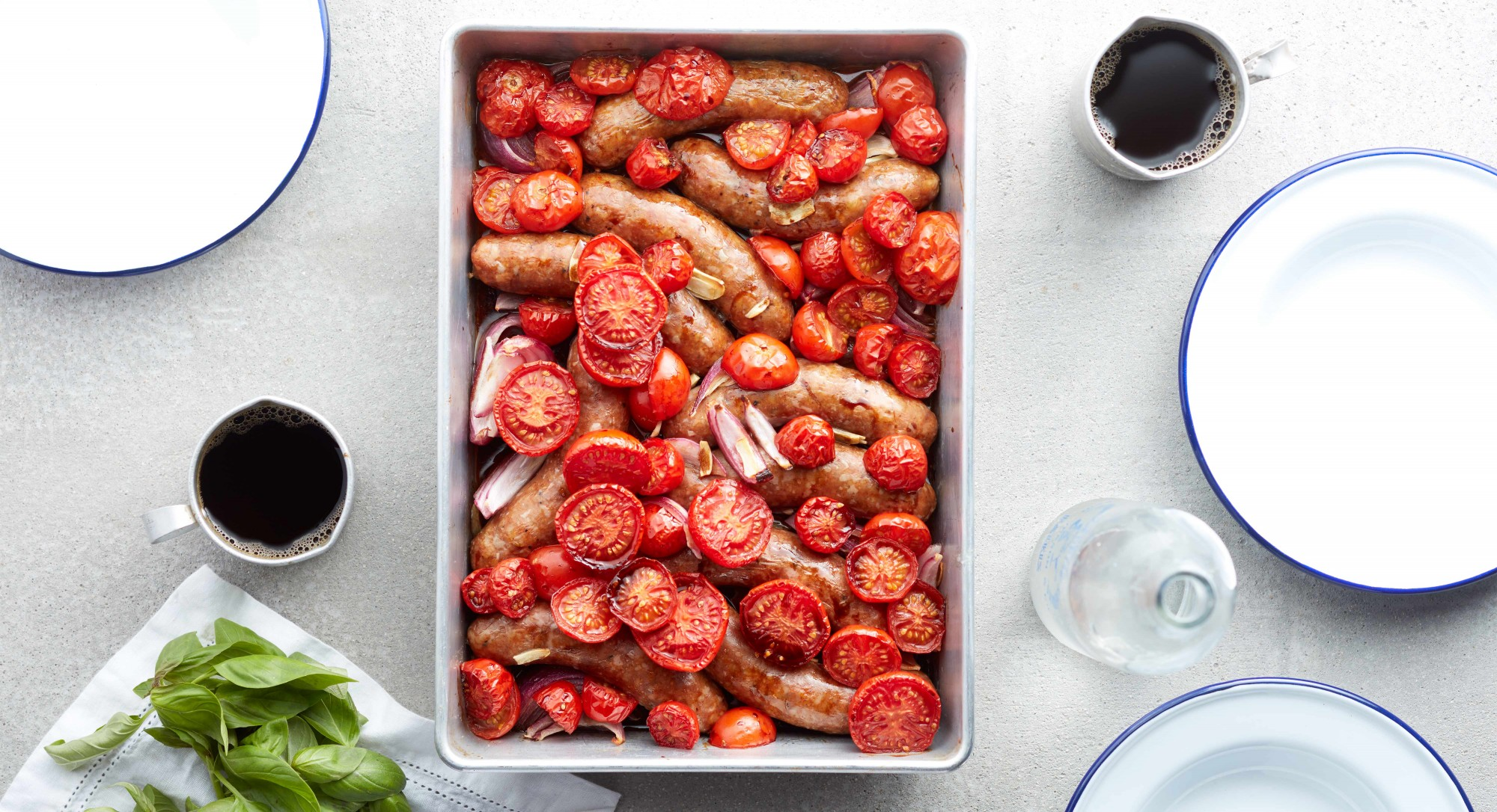 Baked Sausages With Roasted Tomatoes Recipe