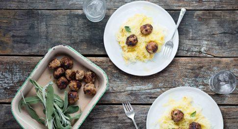 Dinner Tonight: Turkey-Sage Meatballs Served Over Spaghetti Squash