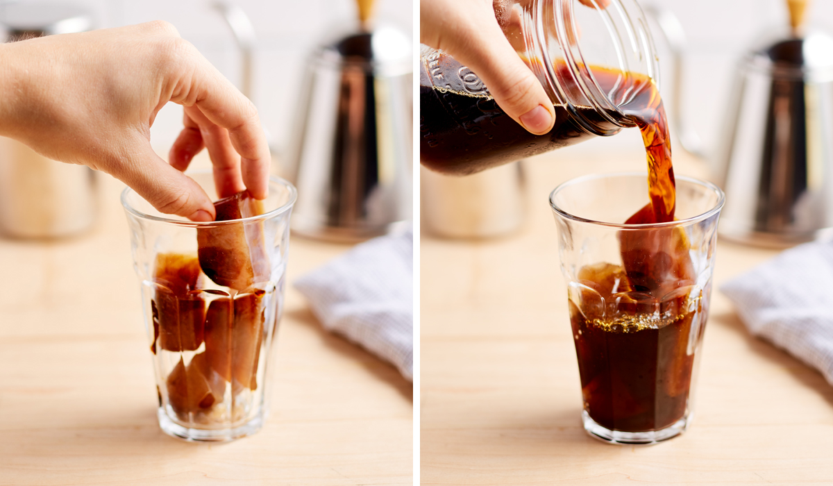 Iced coffee ice cubes