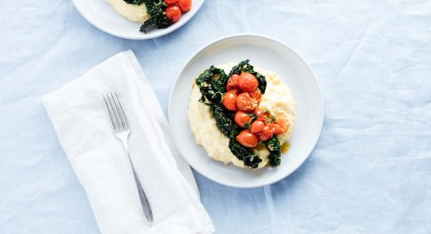 Creamy Parmesan Polenta With Tomatoes and Kale Recipe