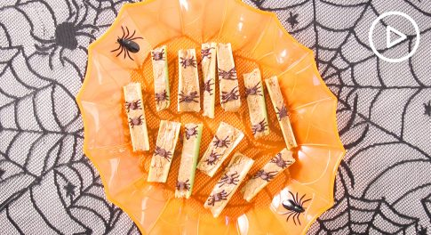 Make Spooky Spiders on a Log for a Healthy Halloween Treat