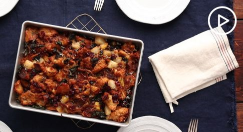 Pear and Caramelized Onion Stuffing Recipe