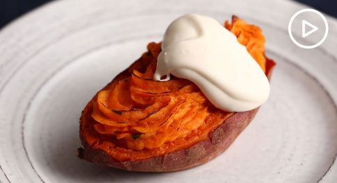 Twice Baked Sweet Potatoes With Maple Crème Fraiche Recipe