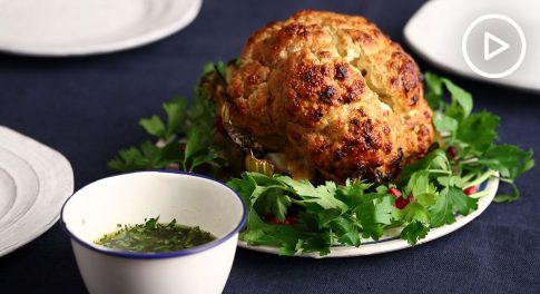 Honey Mustard Whole Roasted Cauliflower With Green Herb Sauce Recipe