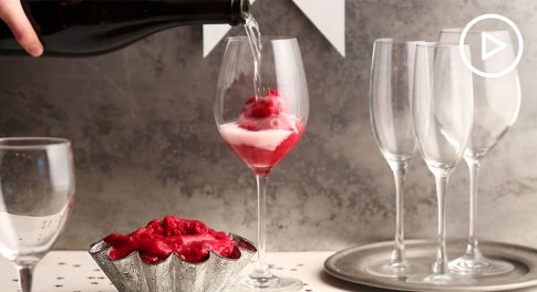 Raspberry Sorbet Champagne Floats Recipe