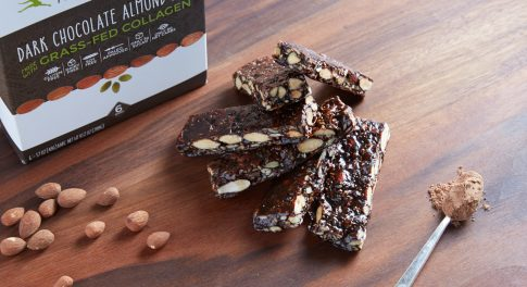 primal kitchen dark chocolate almond bar with grass-fed collagen