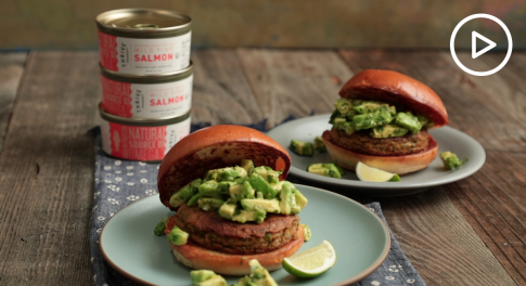 Salmon Burger With Avocado Salsa