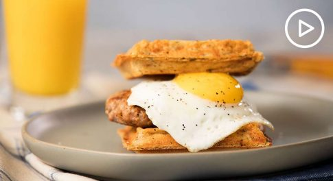 Waffle Sandwich With Sausage and Egg Recipe