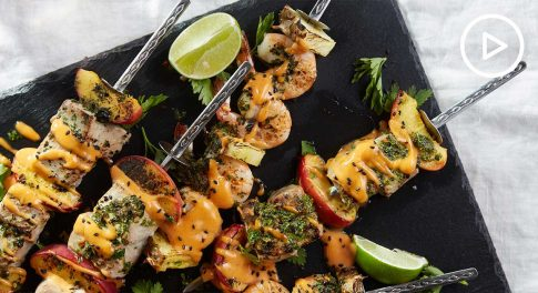 Grilled Fruit & Seafood Kebabs Recipe