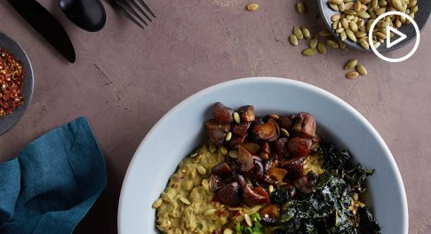 Savory Mushroom and Kale Oatmeal Bowl Recipe