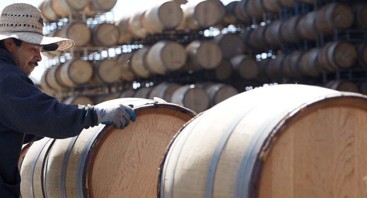 Preparing wine barrels at Qupe Winery
