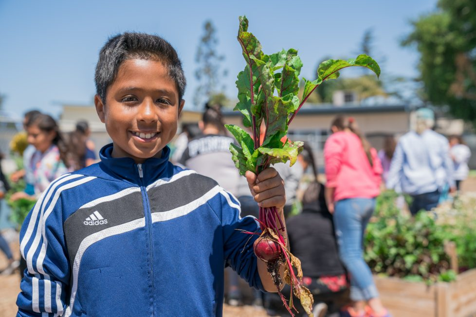 FoodCorps kid with radish
