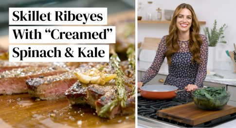 """Video: Wagyu Steaks with """"Creamed"""" Spinach & Kale for New Year's Eve Dinner"""