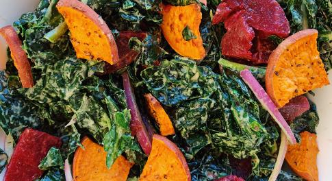Recipe: Massaged Kale Salad with Sweet Potato & Tahini