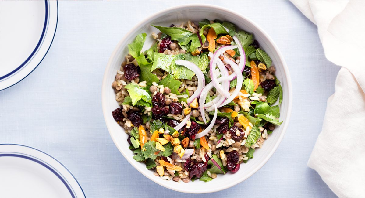 sprouted brown rice lentil salad