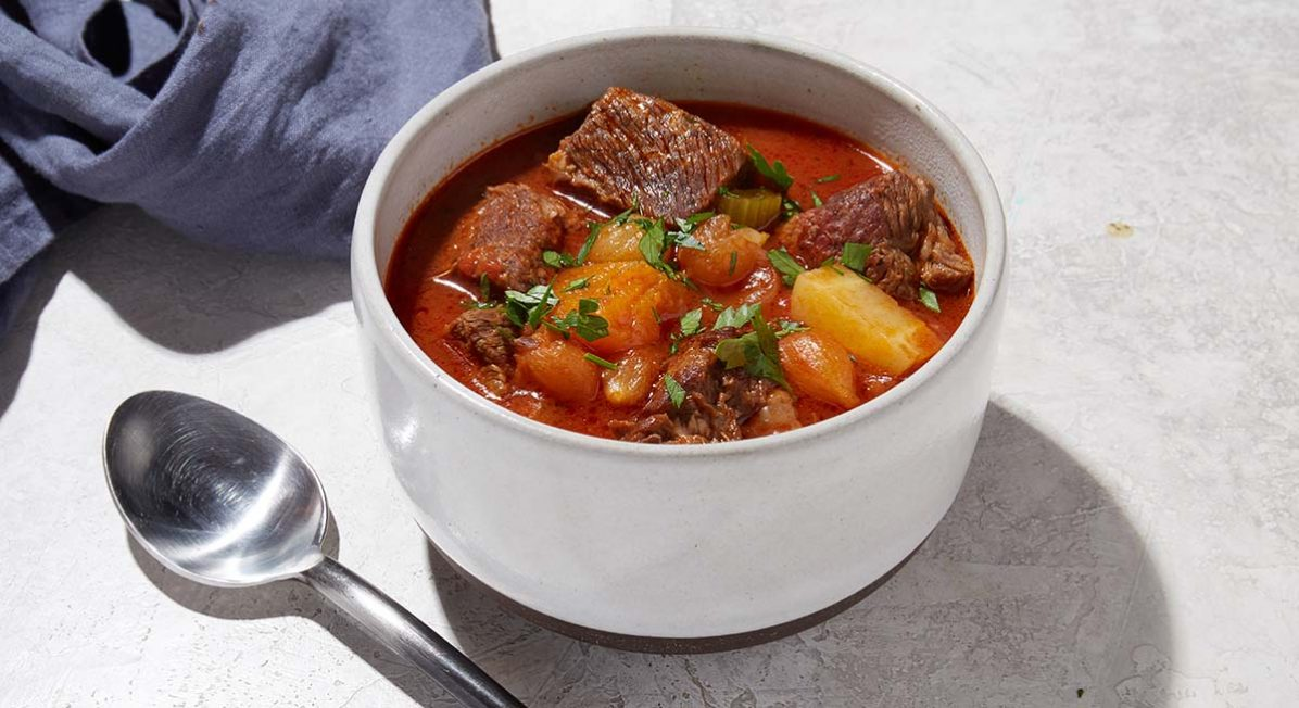 Image of a bowl of keto Instant Pot beef stew