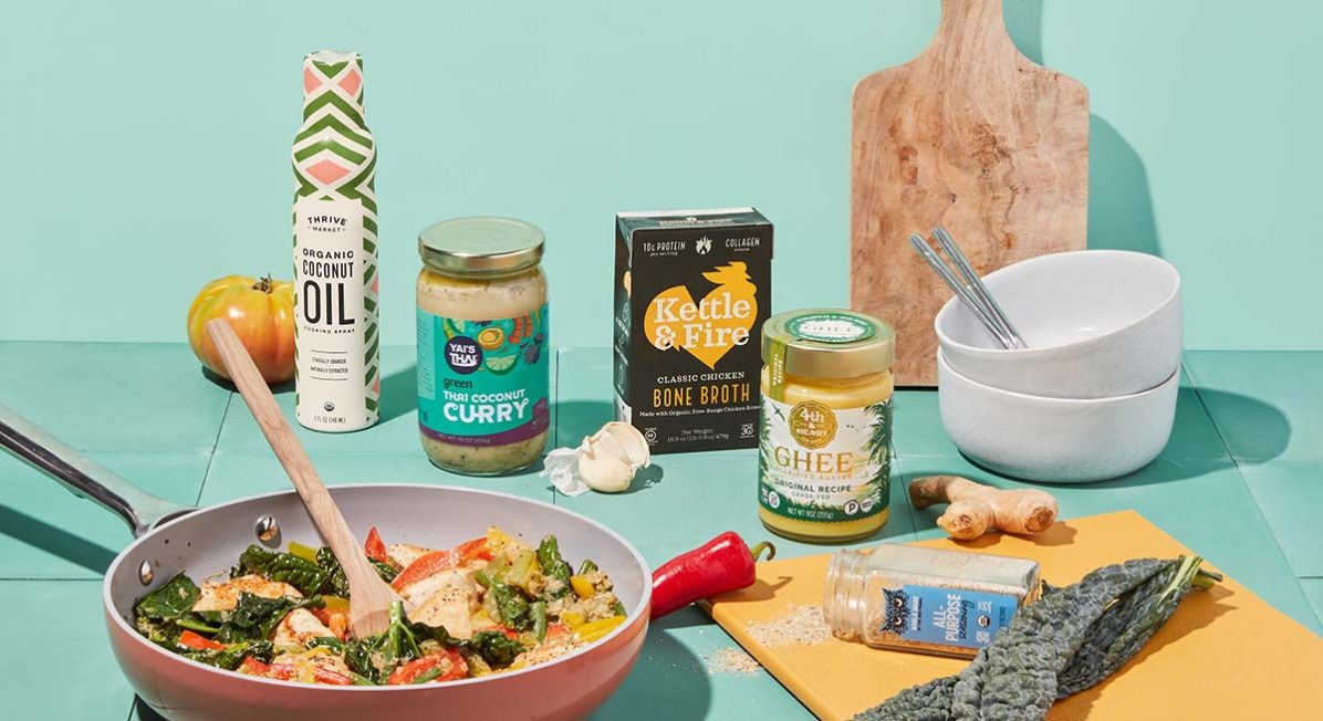 Image of ingredients for healthy keto meals from Thrive Market, like bone broth, ghee, coconut oil, and Thai curry